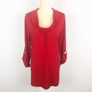 Soft Surroundings Red Cowl Neck Tunic Blouse